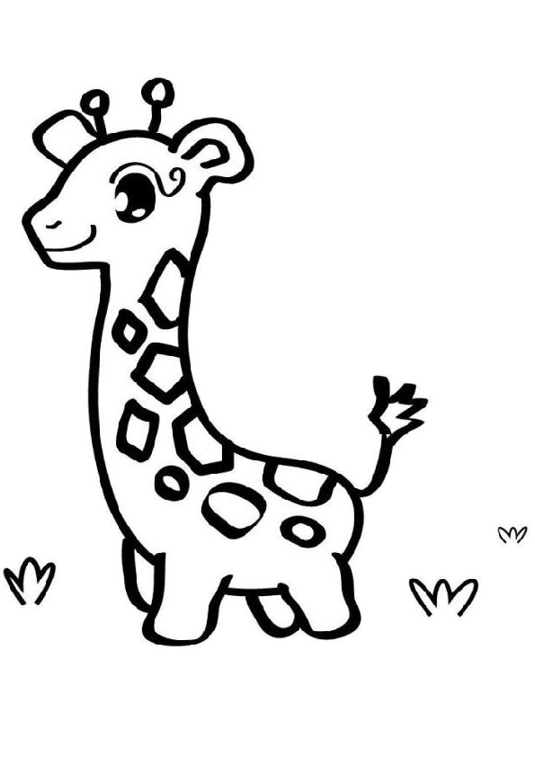 Printable Easy to Draw and Color Baby Giraffe Coloring ...